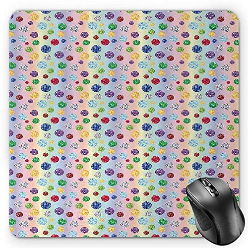 BGLKCS Diamonds Mauspads Mouse Pad, Abstract Colorful Background Oval Stones Honesty Faithfulness Classic Appearance, Standard Size Rectangle Non-Slip Rubber Mousepad, Multicolor von HYYCLS