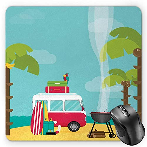 BGLKCS Explore Mauspads Mouse Pad, Caravan Camping with Barbeque and Surf Boards Tropical Beach Banana Coconut Trees, Standard Size Rectangle Non-Slip Rubber Mousepad, Multicolor von HYYCLS