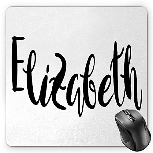BGLKCS Elizabeth Mauspads Mouse Pad, Monochrome Inscription Style Modern Calligraphy Design Popular Girl Name, Standard Size Rectangle Non-Slip Rubber Mousepad, Black and White von HYYCLS