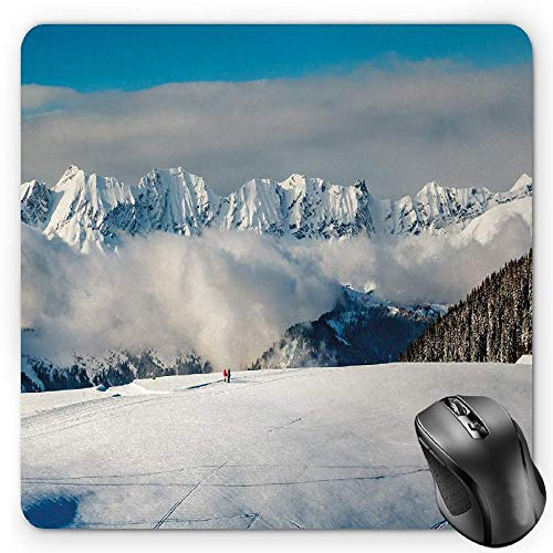 BGLKCS Winter Mauspads Mouse Pad, Panoramic View on Mountains and Two People Walking French Alps Hiking Travel, Standard Size Rectangle Non-Slip Rubber Mousepad, Blue White Brown von HYYCLS