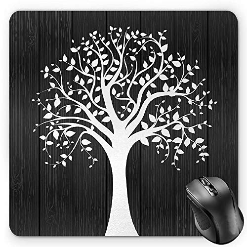 BGLKCS Rustic Mauspads Mouse Pad, A Tree with Many Leaves Pattern Wooden Background Botanical Theme Illustration Print, Standard Size Rectangle Non-Slip Rubber Mousepad, White von HYYCLS