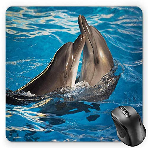BGLKCS Dolphin Mauspads Mouse Pad, Aqua Show Pair of Dolphins Dancing in the Pool Animal Family Tenderness Love, Standard Size Rectangle Non-Slip Rubber Mousepad, Blue Dark Taupe von HYYCLS