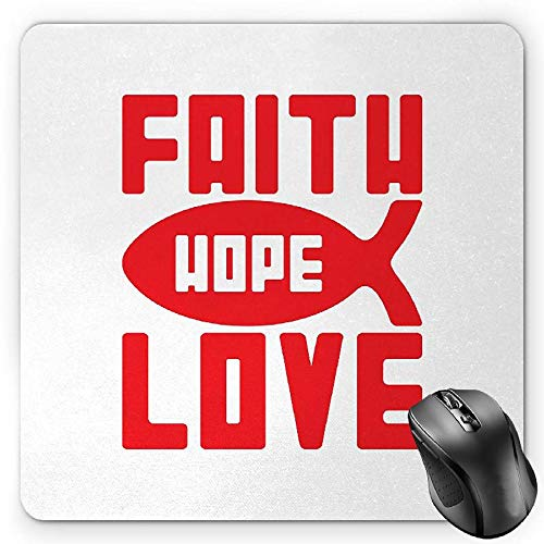 BGLKCS Hope Mauspads Mouse Pad, Monochrome Silhouette of Fish with Religious Message Spiritual Illustration, Standard Size Rectangle Non-Slip Rubber Mousepad, Vermilion and White von HYYCLS