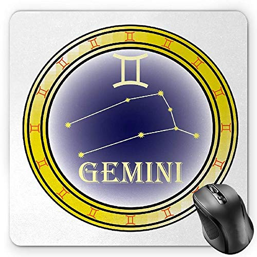 BGLKCS Zodiac Gemini Mauspads Mouse Pad, Circle with Symbols and Constellation Destiny and Stars Theme, Standard Size Rectangle Non-Slip Rubber Mousepad, Navy Blue Yellow Orange von HYYCLS
