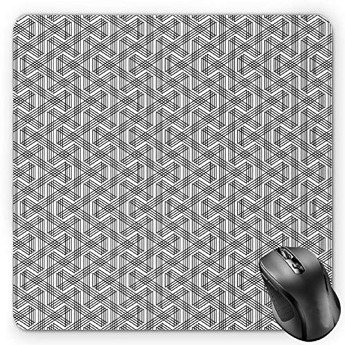 BGLKCS Geometric Mauspads Mouse Pad, Minimalist Zig Zag Striped Overlapping Lines Abstract Urban Style Indie Art Deco, Standard Size Rectangle Non-Slip Rubber Mousepad, Black White von HYYCLS