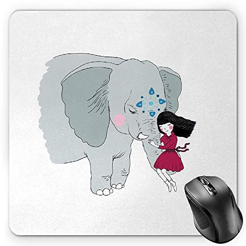 BGLKCS Kids Mauspads Mouse Pad, Cartoon Style Hare Family and a Hedgehog on a Sea Adventure Little Birds and Lantern, Standard Size Rectangle Non-Slip Rubber Mousepad, Multicolor von HYYCLS