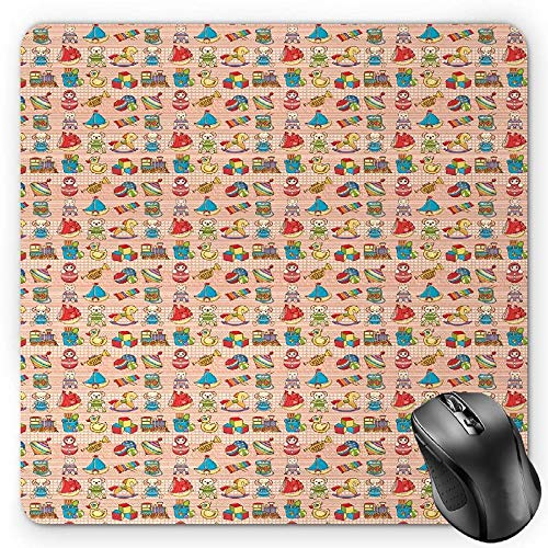 BGLKCS Kids Mauspads Mouse Pad, Playthings for Children Teddy Bears Rubber Ducks and Trains on Heart Filled Backdrop, Standard Size Rectangle Non-Slip Rubber Mousepad, Multicolor von HYYCLS