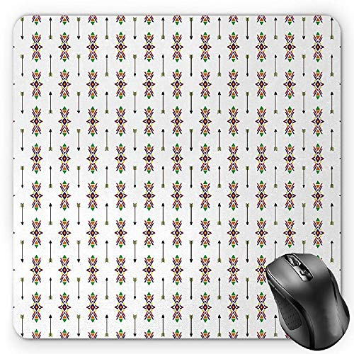 BGLKCS Ethnic Mauspads Mouse Pad, Traditional Native American Tribal Ornaments and Arrows Vintage Geometric Pattern, Standard Size Rectangle Non-Slip Rubber Mousepad, Multicolor von HYYCLS