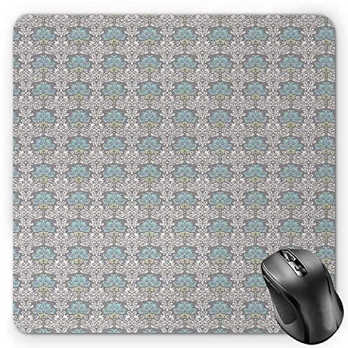 BGLKCS Damask Mauspads Mouse Pad, Vintage Pattern of Swirled Curly Foliage Motifs in Pastel Colors Royal and Floral, Standard Size Rectangle Non-Slip Rubber Mousepad, Multicolor von HYYCLS