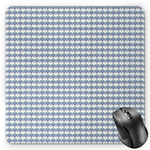 HYYCLS Geometric Mauspads, Diamond Line Pattern with Vertical Lines and Squares Modern Symmetric, Standard Size Rectangle Non-Slip Rubber Mousepad, Blue Slate Blue White von HYYCLS