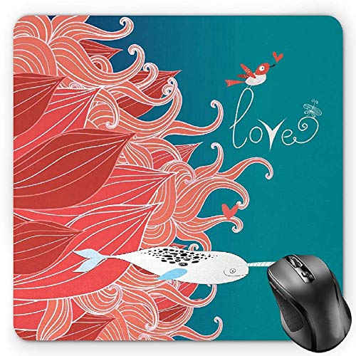 HYYCLS Narwhal Mauspads, Love Themed Sketch Illustration with Arctic Whale Bird and Floral Arrangement, Standard Size Rectangle Non-Slip Rubber Mousepad, Teal Coral White von HYYCLS