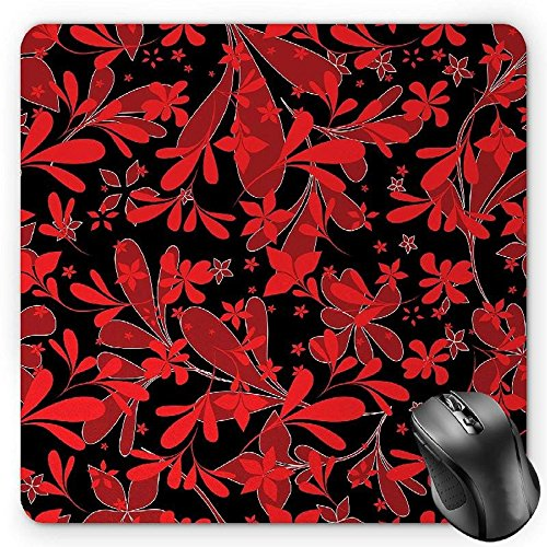 HYYCLS Red and Black Mauspads, Ethnic Design Oceanic Island Flowers Petals Leaves Nature Art Print, Standard Size Rectangle Non-Slip Rubber Mousepad, Ruby Black White von HYYCLS