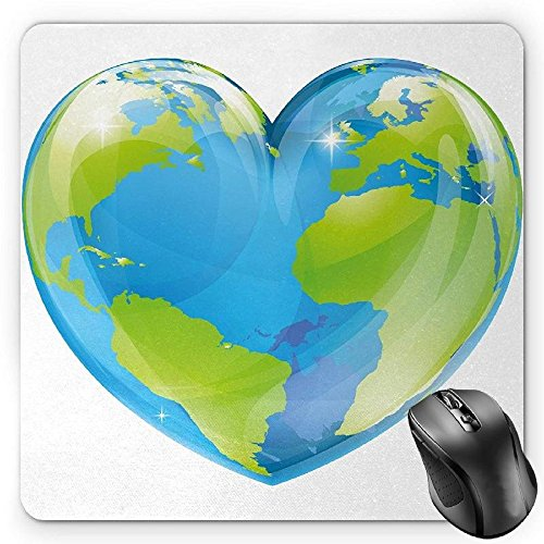 HYYCLS Earth Mauspads, Vibrant Globe of Earth in Heart Shape Love The World Care for Environment, Standard Size Rectangle Non-Slip Rubber Mousepad, Pale Blue Lime Green von HYYCLS