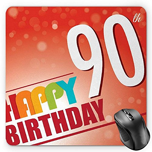 HYYCLS 90th Birthday Mauspads, Happy Birthday Greeting on Red Colored Bokeh Background Retro Style Image, Standard Size Rectangle Non-Slip Rubber Mousepad, Multicolor von HYYCLS