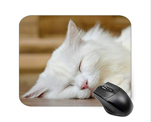 SHAQ® Sleeping White Cat Mouse Pad Mauspads 8.6 X 7.1 in von HYYCLS