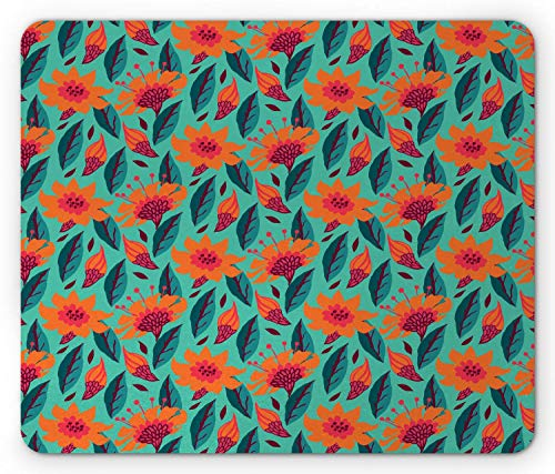 SHAQ Botanical Mouse Pad Mauspads, Ditsy Style Floral Pattern with Vibrant Leaves Revival Field, Standard Size Rectangle Non-Slip Rubber Mousepad, Sea Green Vermilion Dark Coral von HYYCLS