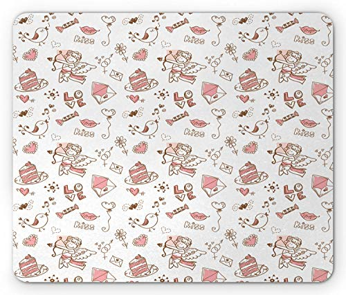 SHAQ Valentines Mouse Pad Mauspads, Festive Childish Pattern with Romantic Elements in Doodle Art Style, Standard Size Rectangle Non-Slip Rubber Mousepad, Pale Pink Brown White von HYYCLS