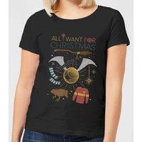 Harry Potter All I Want Damen Christmas T-Shirt - Schwarz - S - Schwarz von Harry Potter