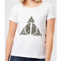 Harry Potter Deathly Hallows Text Women's T-Shirt - White - S - Weiß von Harry Potter