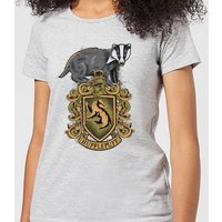 Harry Potter Hufflepuff Drawn Crest Women's T-Shirt - Grey - S - Grau von Harry Potter