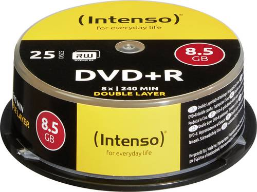 Intenso 4311144 DVD+R DL Rohling 8.5GB 25 St. Spindel von Intenso