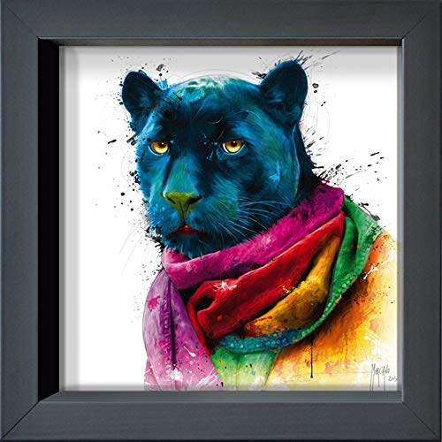 International Graphics Gerahmte Postkarte - MURCIANO, Patrice - ''Panther'' - 16 x 16 cm - anthrazitfarbener Rahmen von International Graphics