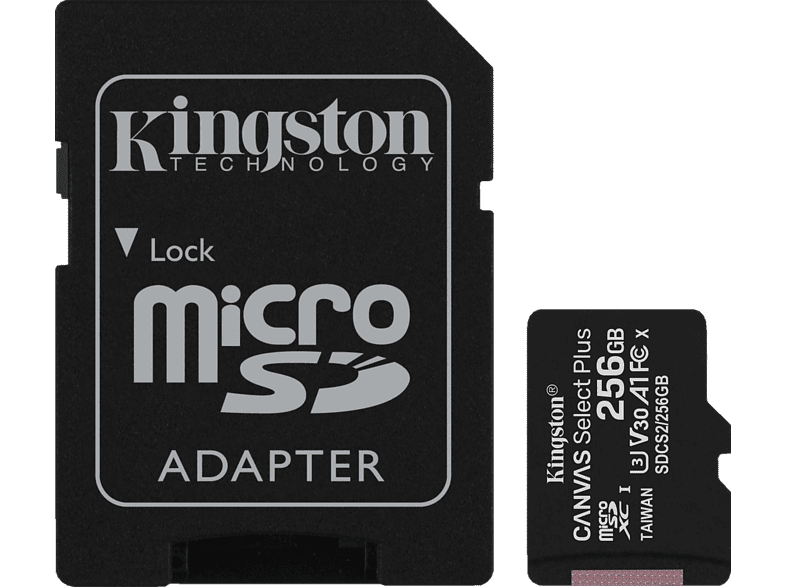 KINGSTON SDCS2 Micro-SD, SD Speicherkarte, 256 GB, 100 MB/s von KINGSTON