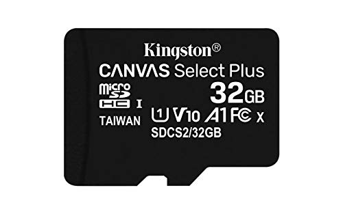 Kingston Canvas Select Plus microSD Speicherkarte, SDCS2/32GB-3P1A Class 10 (1x Karte,inkl. SD Adapter) von Kingston