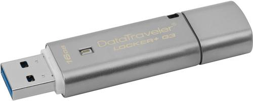 Kingston DataTraveler Locker+ G3 USB-Stick 16GB Silber DTLPG3/16GB USB 3.0 von Kingston