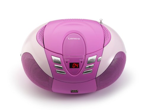 Lenco Radio mit CD/MP3-Player SCD-37 Tragbares UKW/MW Radio mit USB (Teleskopantenne, USB), rosa von Lenco