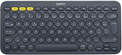 Logitech K380 Kabellose Bluetooth-Tastatur, Multi-Device & Easy-Switch Feature, Windows- und Apple-Shortcuts, PC/Mac/Tablet/Handy/Apple iOS+TV, Französisches AZERTY-Layout - schwarz von Logitech