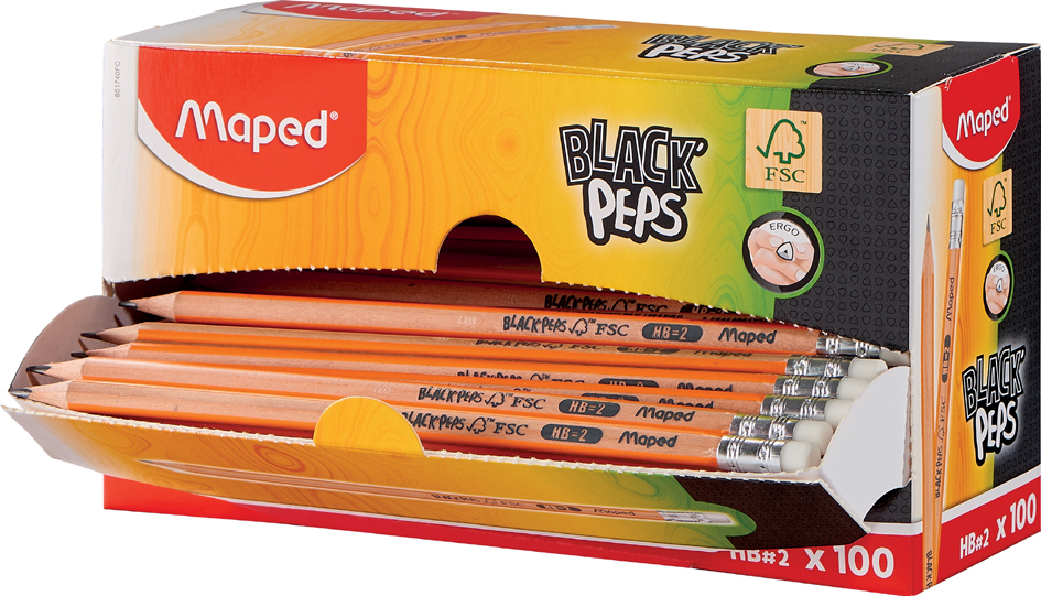 Maped Bleistift BLACK, PEPS, mit Radierer, 100er Displaybox von Maped