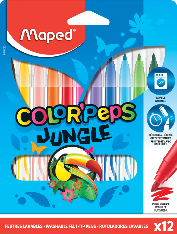 Maped Fasermaler COLOR, PEPS Jungle, 12er Kartonetui von Maped
