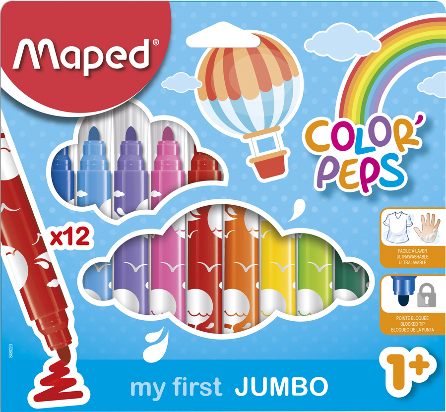 Maped my first Fasermaler COLOR, PEPS JUMBO, 12er Kartonetui von Maped