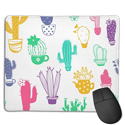 Mouse Pad Colorful Cacti Funny Pattern Rectangle Rubber Mousepad 8.66 X 7.09 Inch Gaming Mouse Pad with Black Lock Edge von NasNew