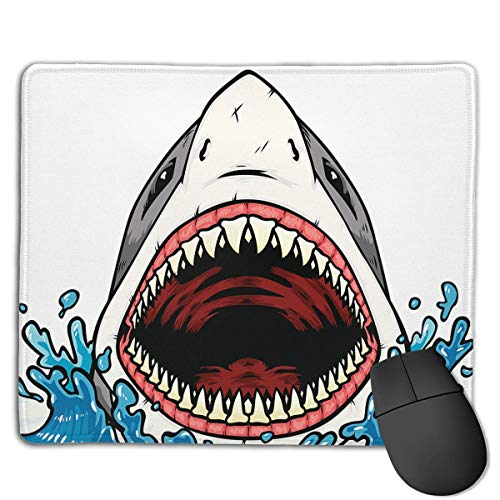 Mouse Pad Cool Shark Giant Mouth Rectangle Rubber Mousepad 8.66 X 7.09 Inch Gaming Mouse Pad with Black Lock Edge von NasNew