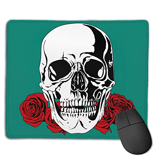 Mouse Pad Flowers Skull Art Pattern Rectangle Rubber Mousepad 8.66 X 7.09 Inch Gaming Mouse Pad with Black Lock Edge von NasNew