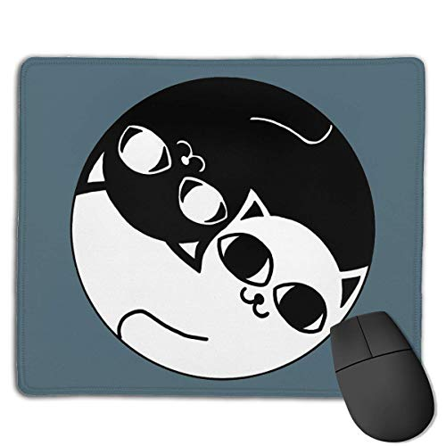 Mouse Pad Ying Yang Black and White Cat Logo Rectangle Rubber Mousepad 8.66 X 7.09 Inch Gaming Mouse Pad with Black Lock Edge von NasNew