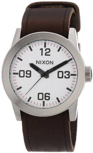Nixon Herren-Armbanduhr XL The Private Silver/Brown Analog Quarz Textil A0491113-00 von NIXON