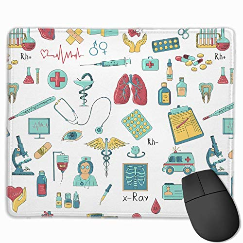Mouse Pad Abstract Medical Logo Rectangle Rubber Mousepad 11.81 X 9.84 Inch Gaming Mouse Pad with Black Lock Edge von Nizefuture
