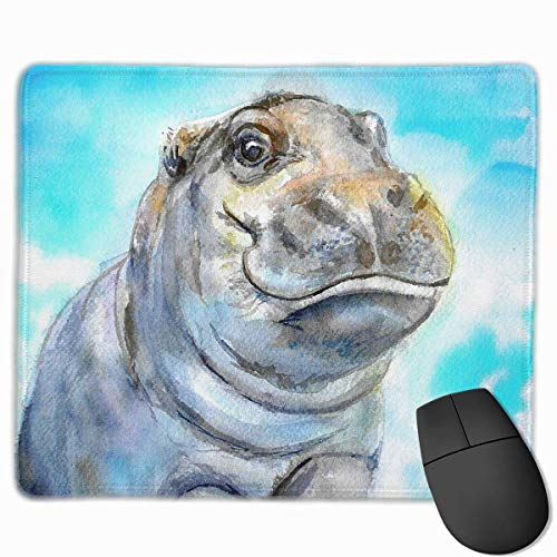 Mouse Pad Baby Hippo Artistic Painting Rectangle Rubber Mousepad 11.81 X 9.84 Inch Gaming Mouse Pad with Black Lock Edge von Nizefuture