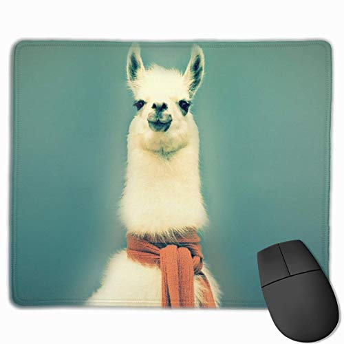 Mouse Pad Cute Alpaca with Scarf Rectangle Rubber Mousepad 11.81 X 9.84 Inch Gaming Mouse Pad with Black Lock Edge von Nizefuture
