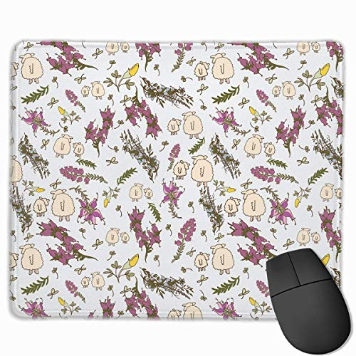 Mouse Pad Cute Sheep with Flowers Rectangle Rubber Mousepad 11.81 X 9.84 Inch Gaming Mouse Pad with Black Lock Edge von Nizefuture