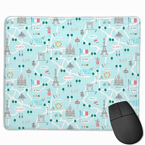 Mouse Pad Eiffel Tower Seamless Illustration Rectangle Rubber Mousepad 11.81 X 9.84 Inch Gaming Mouse Pad with Black Lock Edge von Nizefuture