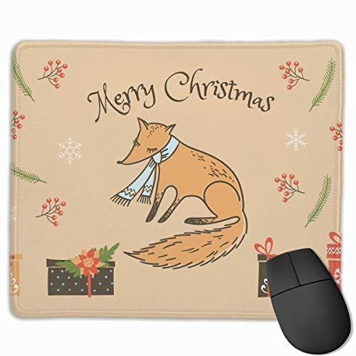 Mouse Pad Merry Christmas Fox Funny Pattern Rectangle Rubber Mousepad 11.81 X 9.84 Inch Gaming Mouse Pad with Black Lock Edge von Nizefuture