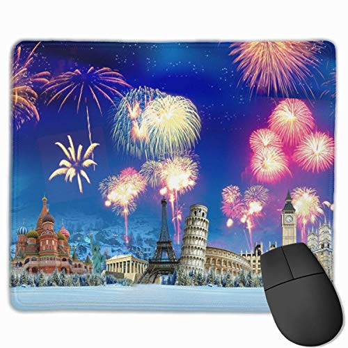 Mouse Pad World Fireworks Funny Logo Rectangle Rubber Mousepad 11.81 X 9.84 Inch Gaming Mouse Pad with Black Lock Edge von Nizefuture