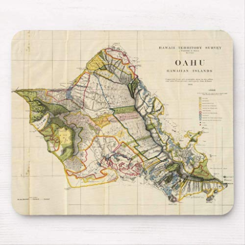 Vintage Map of Oahu Hawaii (1906) Mouse Pad von Nizefuture