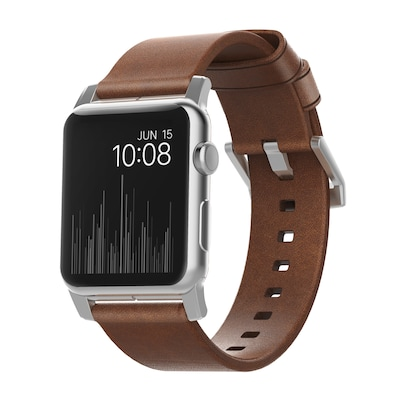 Nomad Strap Modern Leather Connector silber für Apple Watch 42/44mm braun von Nomad