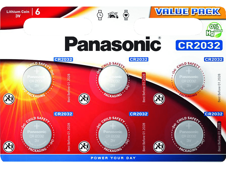 PANASONIC CR2032EL/6BP CR2032 Knopfzelle, Li-Ion, 3 Volt von PANASONIC