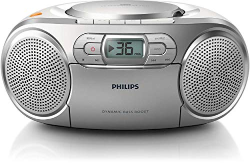 Philips AZ127/12 CD-Soundmaschine, CD Player Tragbar (Radio UKW, CD, Kassettendeck, Dynamic Bass Boost, Audioeingang) silber von Philips Audio